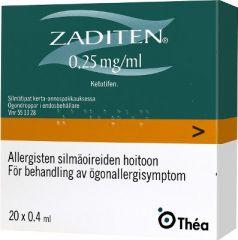 ZADITEN 0,25 mg/ml silmätipat, liuos, kerta-annospakkaus 20x0,4 ml